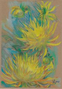 original drawing A3 289YL art samovar modern pastel female flowers Chrysanthemum