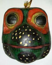 Balinese Garuda FROG Mask Carved WOOD Bali Wall Art Indonesia MOUTH OPENS