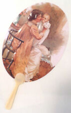 Vintage Inspired Victorian Paper Fan Greeting Card Old Print Factory Mother Baby