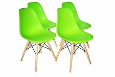 Green Plastic Molded Side Dining Chairs Modern with Natural Wood Legs Set of 4
