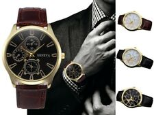 New Geneva Mens Stainless Steel Leather Analog Quartz Gents Wrist Watch UK