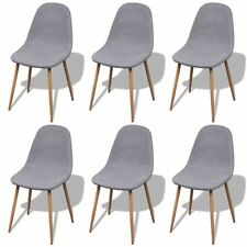 # 6 Light Grey Fabric Upholstery Dining Chairs Iron Legs Kitchen Cafe Furniture