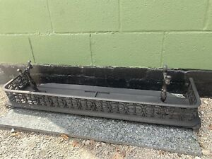 ANTIQUE CAST IRON FRETWORK FIRE FENDER WITH METAL HEARTH  £95