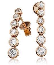 Diamond Orecchini Pendenti graduato 1.20ct F VS Taglio Brillante In Oro Rosa 18ct