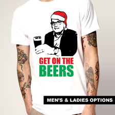 Funny T-Shirts Dan Andrews Christmas Santa T-Shirt GET ON THE BEERS Aussie Bogan