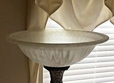 Torchiere Lamp Shade Frosted Marbled White Fluted Glass Large 18 in Replacement