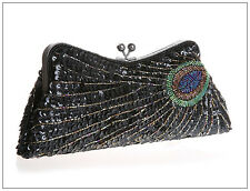 Victorian Style Silver Beaded Sequined Peacock Feather Evening Clutch