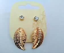2 Pairs of Gold Tone Earrings (leaf and diamante)