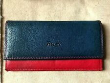 """FABRETTI Real Leather Purse Wallet - Navy blue/multi  7"""" x3.5"""""""