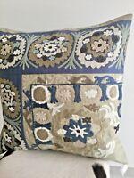 "Cushion Cover Oka POTTERY BARN Nicola BLUE / TAUPE green CREWEL 24"" 61cm square"