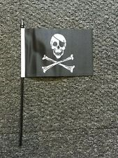 """5x Pirate Jolly Roger Hand Flags 6x4"""" on 10"""" / 25cm sticks  pirates kids party"""