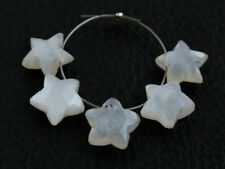 10mm. Natural Flashing White Moonstone Faceted Star Briolette Beads