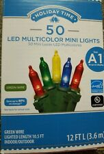 HOLIDAY TIME 50 CT MULTI-COLOR LED MINI LIGHTS WITH GREEN WIRE - BRAND NEW
