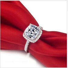 925 stamped silver cubic zirconia fake engagement wedding sparkly tester  ring