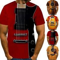 Men Casual T-Shirt 3D Print Guitar Instrument Short Sleeve Summe Tee Top
