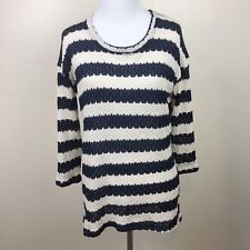 Maison Jules Sweater Top Size Small Open Knit Navy White Striped Gold Threading