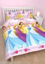 DOUBLE BED PRINCESS ENCHANTING DUVET COVER SET CINDERELLA BELLE RAPUNZEL RAINBOW