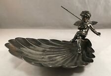 ANTIQUE VICTORIAN CUPID FIGURAL SILVERPLATE COMPOTE STAND SHELL BOWL
