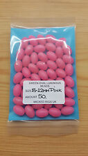 50 x 12 mm-8mm Extra Large Pink Oval Lumi Fishing Beads.Biggest listed on Ebay.