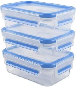 Emsa 508570 Clip & Close Plastik Frischhaltedosen Deckel 0,55 Liter Blau 3er Set