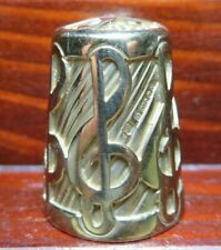 More details for gold 375 thimble 14 grams - treble clef pattern