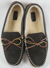 POLO Ralph Lauren Brown Leather Slippers Rubber Sole NWT
