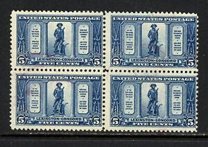 SCOTT 619 1925 5 CENT LEXINGTON CONCORD ISSUE BLOCK OF 4 USED F CAT $26!
