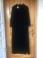 Vintage 60s Black Velvet Opera Coat with Brooch Empire Waist New Years