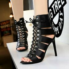Nightclub Women Gladiator Sandals Stiletto High Heel Hollow Lace Up Casual Shoes