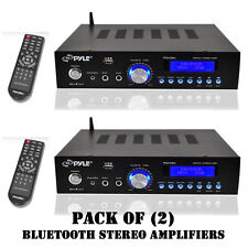 Pack of (2) Pyle PDA5BU 200W Bluetooth Stereo Amplifiers W/ AM-FM,Mic,Aux O/Ps