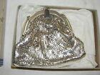 Vintage Whiting & Davis Silver Mesh Purse Handbag Evening Clutch in Original Box