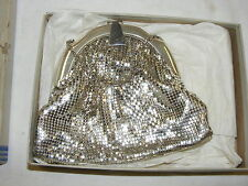 Vintage Whiting & Davis Silver Mesh Purse Handbag Evening Clutch in Original Box