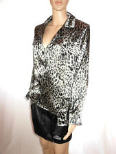 Jean Marc Philippe Womens Vtg Satin Animal Plunge Formal Shirt Jacket sz 16 AG7