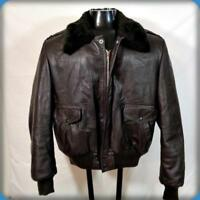 REED Vintage LEATHER Flight BOMBER JACKET Mens L Size 44 Brown faux fur lined