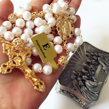 AAA+ 10MM White Real Pearl & ROSE GOLD BEADS CATHOLIC GOLD ROSARY CROSS NECKLACE