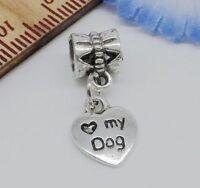 20/100Pcs Tibetan Silver Love my Dog Charms Dangle Beads Fit pendant Bracelet