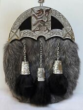 Sporran with grey Goat leather, Rampant Lion Cantel & Tassels Free Belt included