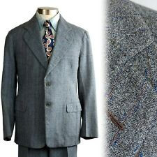 Vintage 1940s 2 Button Flecked Gray Granite Cloth Suit 42 40x30