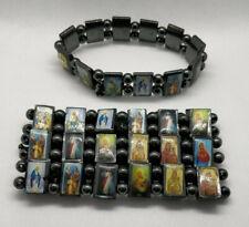 Hematite Natural Stone Magnetic all Saints, Mary & Jesus Elasticated Bracelet