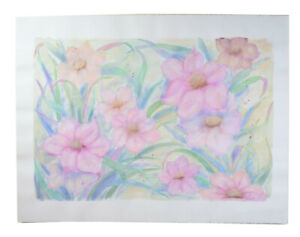 Huge Color Pastel Drawing Pink Blossoms Flowers Patricia McGeeney California
