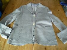 Immaculate HARRIS WHARF LONDON Light Blue LInen & Cotton Raw Seam BLAZER UK 12