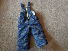 Xtreme brand NWT boy's sz 24M snow bibs blue/gray camo pattern adjustable strap