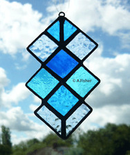Stained Glass Harlequin Squares - Handmade - Blues - Suncatcher  NEW