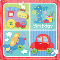 Amscan 8 Pack 1st BIRTHDAY BOY 1 Today Car Square Party Table Paper Plates 7""