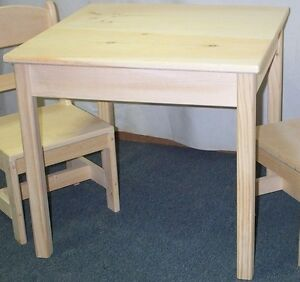 CHILD'S TABLE -only- NO CHAIRS, SQUARE TOP UNFINISHED PINE WOOD HAND MADE IN USA