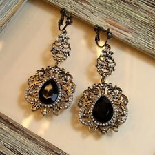 Boucles d`Oreilles a Clip Longue Pendante Noire Goutte Mini Perle Cadeau C1