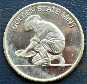 1/4 Oz .999 Fine Silver Golden State Mint Assayed Prospector Bullion Round FRR12