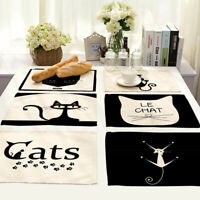 Black Cat Cotton Linen Insulation Placemat Dining Coffee Table Mat Home Kitchen