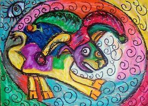 Crazy Jester Goat art PRINT wall art 4x6 modern folk Collectible