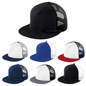 NEW MESH SNAPBACK CAP BLACK PLAIN TRUCKER BASEBALL HIP HOP ERA FLAT PEAK HAT